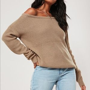 Missguided off the shoulder sweater in brown.